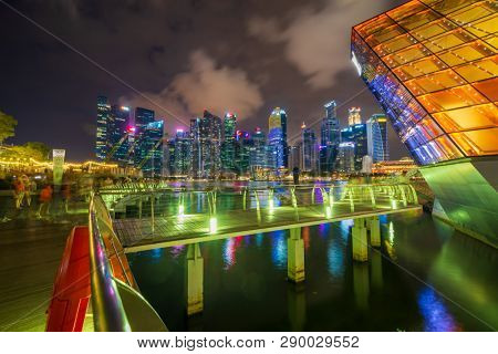 Singapore, Singapore - MARCH 5, 2019: View at Singapore City Skyline, which is the iconic landmarks of Singapore