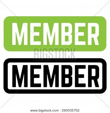 Member Stamp On White Background. Sign, Label Sticker