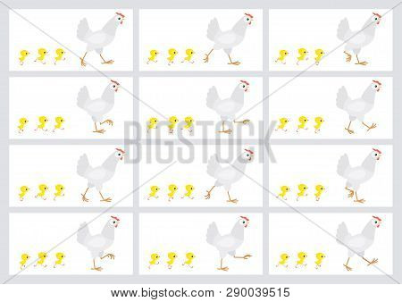 Walking White Hen And Chicks Sprite Sheet Isolated On White Background. Vector Illustration. Can Be