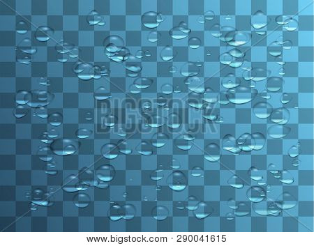 Water Drops. Raindrops Or Showers, Condensation On The Glass. Dew After Rain. Isolated On Transparen
