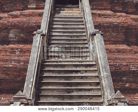 Old Bricks Staircase Of Ancient Ruined Pagada In Thailand