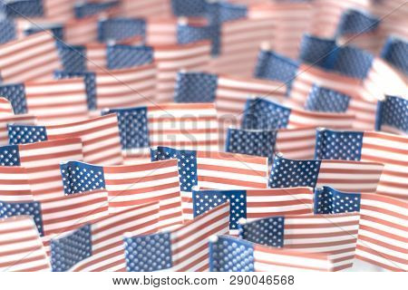 American Flags-a Symbol Of Independence Day, The Adoption Of The Declaration Of Independence.