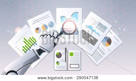 Robot Hand Holding Magnifying Glass Financial Graphs Report Data Analysis Top Angle View Artificial