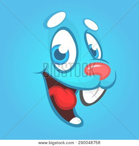 Cartoon Easter Rabbit Face Avatar. Vector Illustration