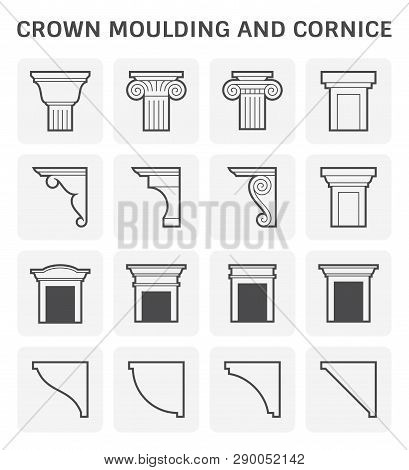 Crown moulding and cornice icon set design. poster