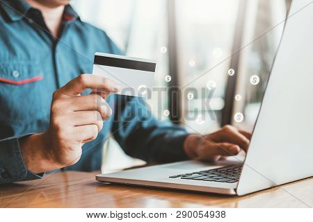 Online Banking Businessman Using Laptop With Credit Card Shopping Online Fintech And Blockchain Conc