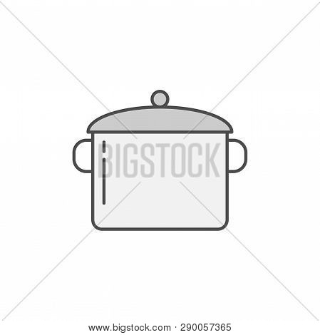 Casserole, Pan Icon. Kitchen Appliances For Cooking Illustration. Simple Thin Line Style Symbol.
