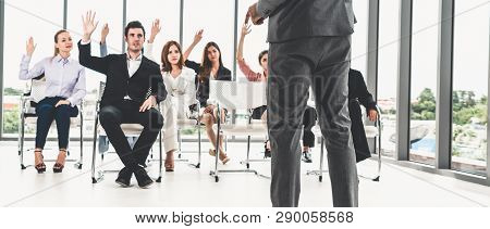 Businesswomen and businessmen attending group meeting conference in office room. Corporate business team concept. poster