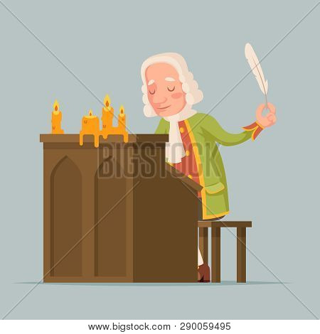 Chronicler Noble Writer Scribe Playwright Medieval Aristocrat Periwig Pen Music Stand Scroll Candles
