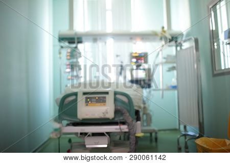 Single Patient Room With Observation Window In The Intensive Care Unit, Unfocused Background.