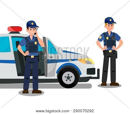 Police Officers Ready To Work Cartoon Characters. Bodyguards And Police Car Flat Vector Illustration
