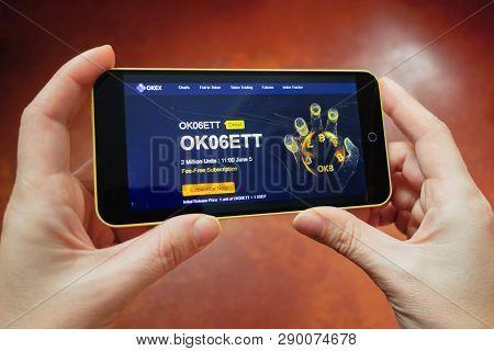 Berdyansk, Ukraine - March 17, 2019: Okex Logo Displayed On A Modern Smartphone.