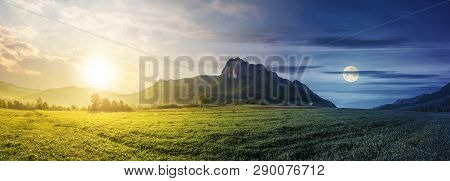 Time Change Concept Above Panorama Of Romania Countryside With Sun And Moon. Beautiful Scenery With