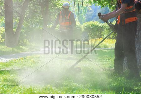 Professional Lawn Mowing Service In The Park. Two Men Working With Brush Cutter. Dust And Yellow Dan