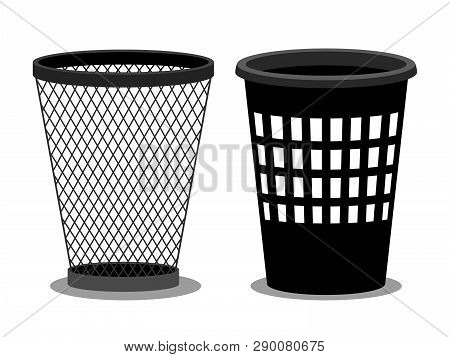 Office Style Empty Bins Isolated On White Background. Vector Basket Container Garbage, Junk Bucket I