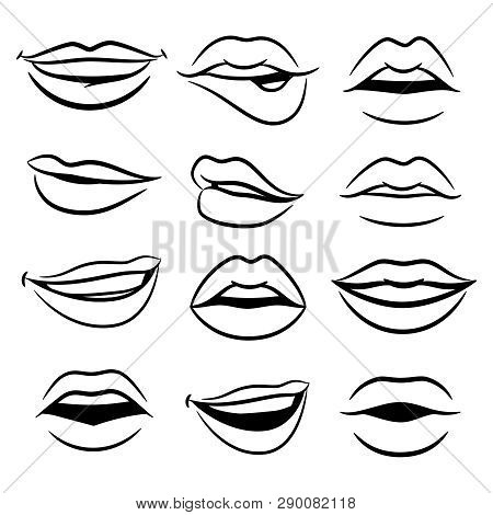Black And White Comic Female Lips Vector Set. Illustration Of Lips Girlish Collection, Vogue Female