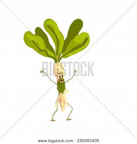 Funny Horseradish Root Vegetable Character Vector Illustration