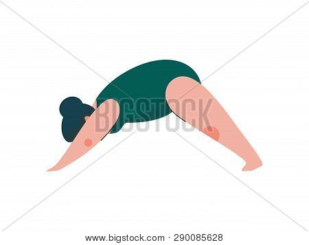 Beautiful Plus Size Curvy Woman In Adho Mukha Svanasana Position, Plump Girl In Swimsuit Practicing