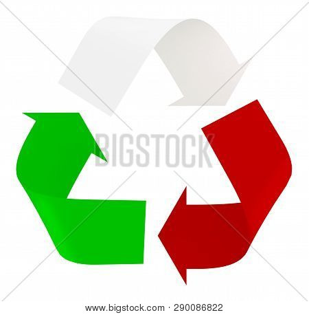 Symbol Recycle With Italian Flag Colors, The Green, White And Red, 3d Illustration