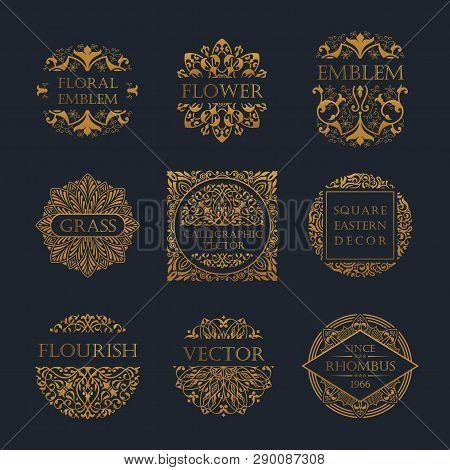Calligraphic Luxury Line Logo. Flourishes Elegant Emblem Monogram. Royal Vintage Divider Design