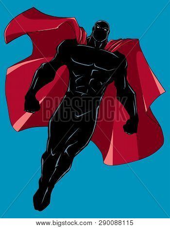 Silhouette Illustration Of Powerful Superhero Looking Down While Soaring In The Sky.