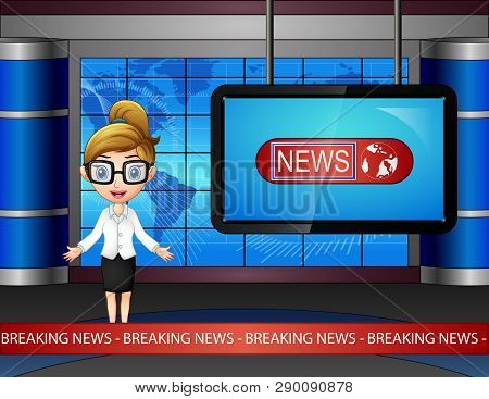 Cartoon Of Newsreader Are Broadcating On Tv