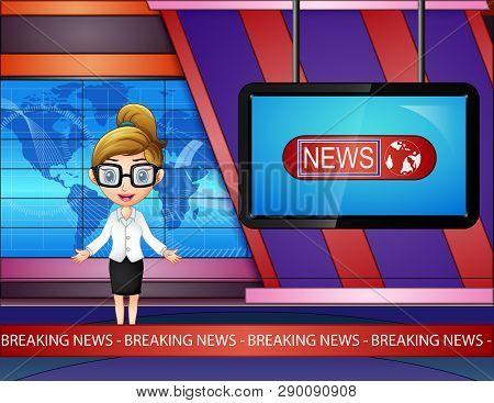 Cartoon Newsreader Woman Are Broadcating On Tv
