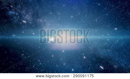 Crazy Fast Flight In Hyperspace Of Space Among Nebulae And Blue Stars And Black Cosmic Background. F