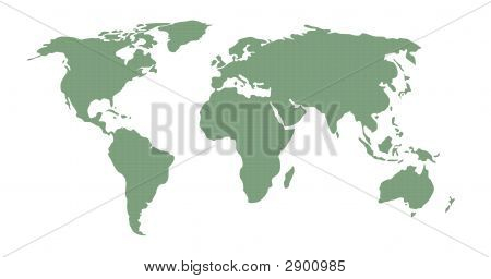illustration of world map in green pattern on white background poster