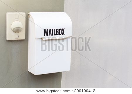 Mailbox with bell buzzer on wall home for postman and communication lifestyle city people image poster