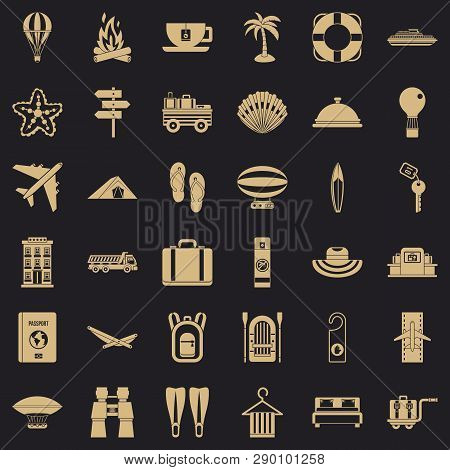 Travel Luggage Icons Set. Simple Style Of 36 Travel Luggage Vector Icons For Web For Any Design