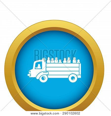 Refugee People Truck Icon Blue Vector Isolated On White Background For Any Design