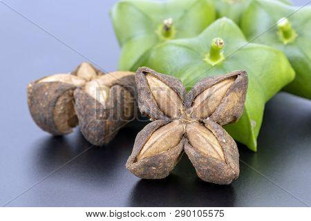 Dried Plukenetia Volubilis, Sacha Inchi, Sacha Peanut, Mountain Peanut, Inca-peanut On Black Plate