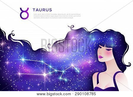 Taurus Zodiac Sign Web Banner Template. Astrological Article. Horoscope Symbol As Female Cartoon Cha
