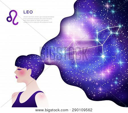 Leo Zodiac Sign Poster Template With Text Space. Astrological Symbol As Female Cartoon Character. Un