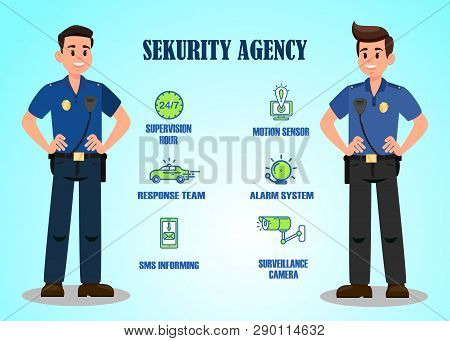 Security Agency Services Vector Banner Template. Security Guard Company Options. 24 To 7 Hour Superv