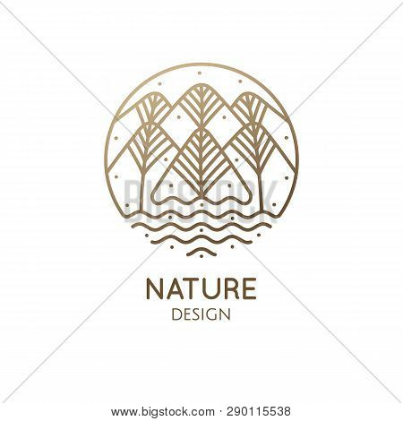 Nature Abstract Logo Of Mountains, Trees, River And Sun. Vector Round Icon Of Landscape. Linear Simp