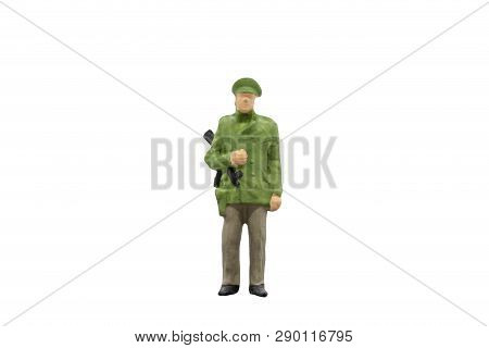 Miniature People : Policeman Standing On White Background With Clipping Path