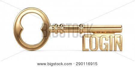 Golden login key isolated on white background. Login, password security concept - 3d rendering