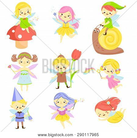 Cute Fairy. Garden Elf And Pixie. Little People. Beautiful Girls And Bys In Winged Flying Costumes.