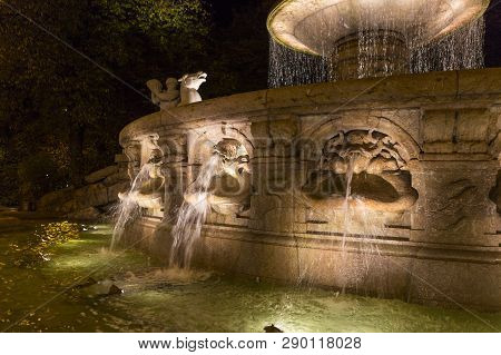 Wittelbacher Fountain On Lenbachplatz In Munich