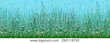 Seamless Horizontal Background, Nature Landscape With Green Grass, Leaves And Flowers On Blue Sky Wi