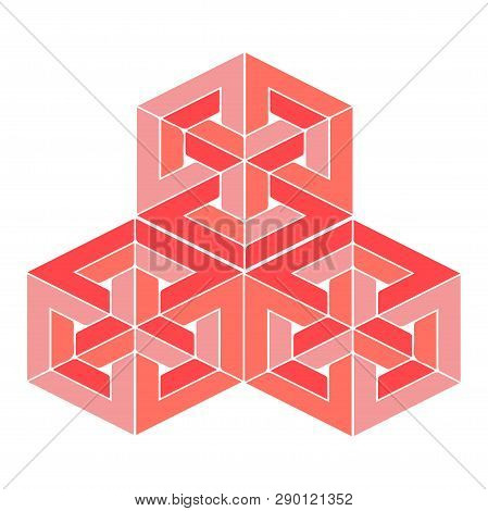 Impossible Or Undecidable Object Vector Illustration. Optical Illusion Figure Isolated. Impossible P