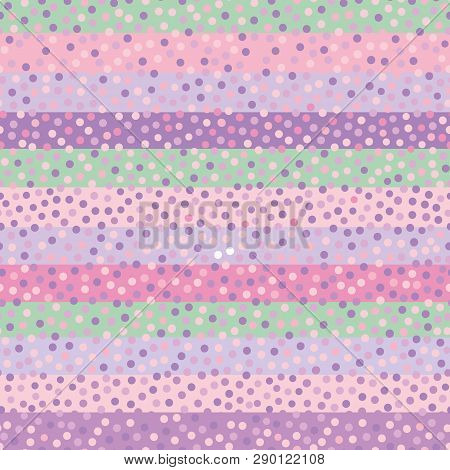 Fun Hand Drawn Pastel Confetti Dots On Pastel Horiontal Striped Background. Beautiful Seamless Vecto