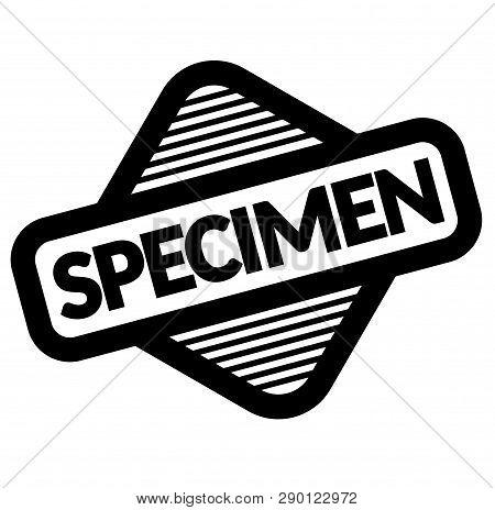 Specimen Black Stamp, Sticker, Label On White Background