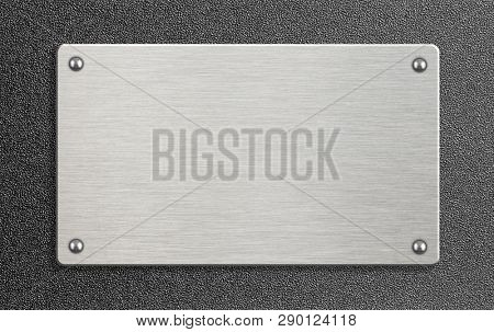 metal plate on textured wall 3d illustration