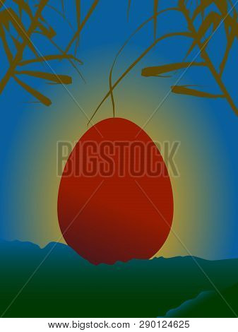 Red Easter Egg On A Serene Scene With Sunset Mountains And Vegetation Background