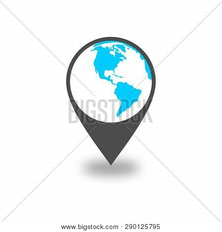 Globe Icon. Globe Pin Icon Flat. Simple Vector Symbol. Location Icon Isolated On White Background. L