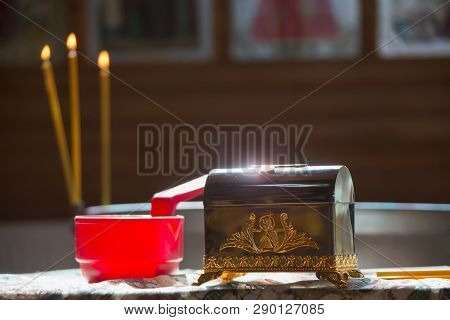 Church Supplies For The Baptism Of The Child. The Rite Of Baptism. Adoption Of Faith.