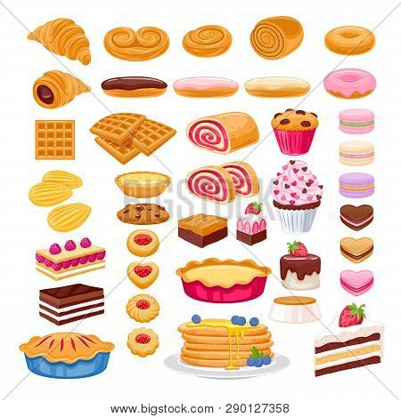 Sweet Pastry Icons Set. Vector Bakery Products - French Baguette, Croissant, Bagel, Roll, Cake, Pie,